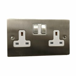 2 Gang 13A Switched Twin Socket in Satin Nickel Plate and Switch with White Plastic Trim, Elite Flat Plate