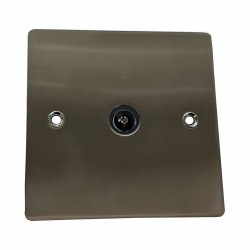 1 Gang TV/Coaxial Non-Isolated Socket in Satin Nickel Plate with Black Trim, Elite Flat Plate