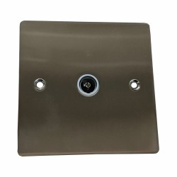 1 Gang TV/Coaxial Non-Isolated Socket in Satin Nickel Plate with White Trim, Elite Flat Plate