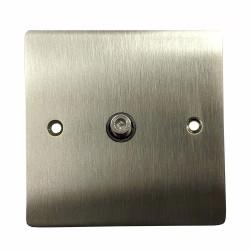 1 Gang Satellite Socket in Satin Nickel Flat Plate with Black Plastic Trim, Elite Flat Plate