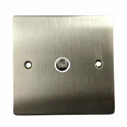 1 Gang Satellite Socket in Satin Nickel Flat Plate with White Plastic Trim, Elite Flat Plate