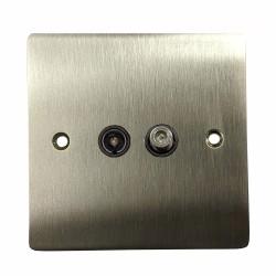 1 Gang Satellite/TV Socket in Satin Nickel Flat Plate with Black Trim, Elite Flat Plate
