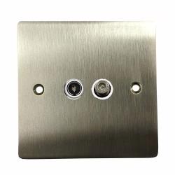 1 Gang Satellite/TV Socket in Satin Nickel Flat Plate with White Plastic Trim, Elite Flat Plate