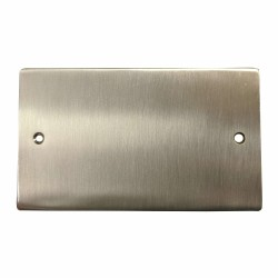 2 Gang Double Section Blank Plate in Satin Nickel Flat Plate, Elite Flat Plate
