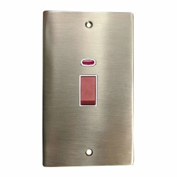 45A Red Rocker Cooker Switch with Neon Flat Plate (twin plate) in Satin Nickel Flat Plate with White Trim