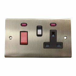 45A Cooker Unit with 13A Switched Socket and Neon in Satin Nickel Plate with Black Trim, Elite Flat Plate