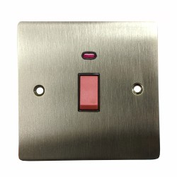 45A Red Rocker Cooker Switch (Single Plate) in Satin Nickel Plate with Black Trim, Elite Flat PLate