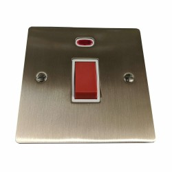 45A Red Rocker Cooker Switch (Single Plate) in Satin Nickel Plate with White Trim, Elite Flat Plate