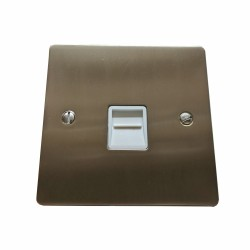 1 Gang Master Line Telephone Socket in Satin Nickel Plate with White Trim, Elite Flat Plate