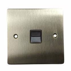 1 Gang Master Line Telephone Socket in Satin Nickel Plate with Black Trim, Elite Flat Plate