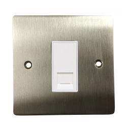 1 Gang RJ45 Single Data Socket Outlet in Satin Nickel Plate with White Trim, Elite Flat Plate