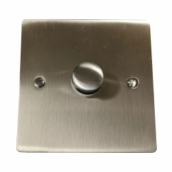 1 Gang 2 Way 400W Push On/Off Single Dimmer in Satin Nickel Plate and Knob, Elite Flat Plate