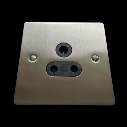 1 Gang 5A 3 Pin Unswitched Socket in Satin Nickel Flat Plate with Black Trim, Elite Flat Plate