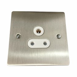 1 Gang 5A 3 Pin Unswitched Socket in Satin Nickel Flat Plate with White Trim, Elite Flat Plate