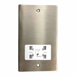 Shaver Socket Dual Voltage Output 110/240V in Satin Nickel Plate with White Trim, Elite Flat Plate