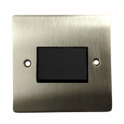 1 Gang 6A Triple Pole Fan Isolator Switch in Satin Nickel Plate with Black Trim and Switch, Trim Elite Flat Plate