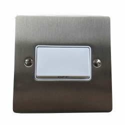 1 Gang 6A Triple Pole Fan Isolator Switch in Satin Nickel Plate with White Trim and Switch, Trim Elite Flat Plate