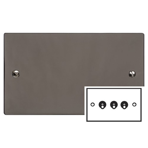 3 Gang 2 Way 20A Dolly Switch in Polished Black Nickel Flat Plate and Toggle, Elite Flat Plate