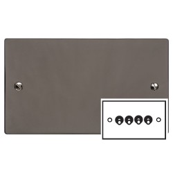 4 Gang 2 Way 20A Dolly Switch in Polished Black Nickel Flat Plate and Toggle, Elite Flat Plate