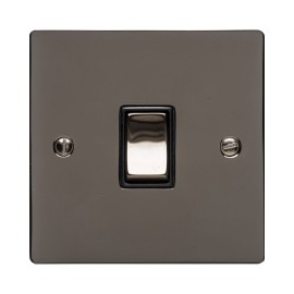 1 Gang 20A Double Pole Rocker Switch Polished Black Nickel Plate and Switch with Black Plastic Trim