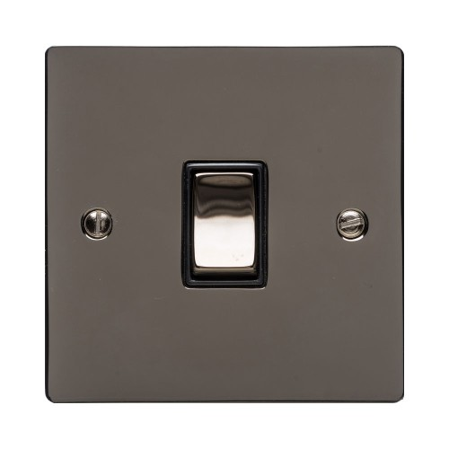 1 Gang 10A 2 Way Rocker Switch in Polished Black Nickel Plate and Switch with Black Plastic Trim