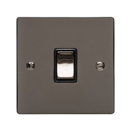 1 Gang 10A Intermediate Rocker Switch in Polished Black Nickel Plate and Switch with Black Plastic Trim
