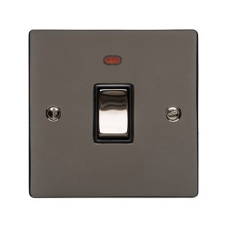 1 Gang 20A Double Pole Switch with Neon Polished Black Nickel Plate and Switch with Black Plastic Trim