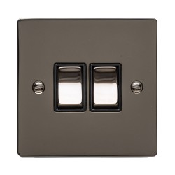 2 Gang 10A 2 Way Rocker Switch in Polished Black Nickel Plate and Switch with Black Plastic Trim