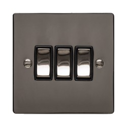 3 Gang 2 Way 10A Rocker Switch in Polished Black Nickel Plate and Switch with Black Plastic Trim