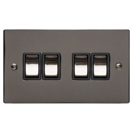 4 Gang 2 Way 10A Rocker Switch in Polished Black Nickel Plate and Switch with Black Plastic Trim