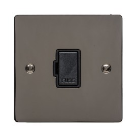 13A Unswitched Fused Spur on a Polished Black Nickel Elite Flat Plate with Black Plastic Trim