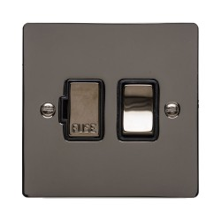 1 Gang 13A Switched Fused Spur in Polished Black Nickel Flat Plate and Switch with Black Plastic Trim