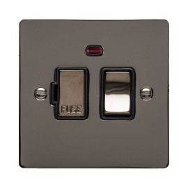 1 Gang 13A Switched Fused Spur with Neon in Polished Black Nickel Flat Plate and Switch with Black Plastic Trim