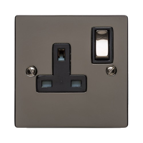 1 Gang 13A Switched Single Socket in Polished Black Nickel Flat Plate and Rocker Switch with Black Trim