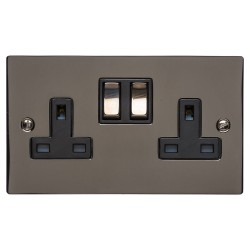 2 Gang 13A Switched Double Socket in a Polished Black Nickel Flat Plate with Switch with Black Plastic Trim