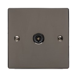1 Gang TV/Coaxial Non Isolated Socket in Polished Black Nickel Elite Flat Plate with Black Trim