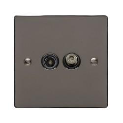 2 Gang Satellite/TV Socket Polished Black Nickel Elite Flat Plate with Black Trim