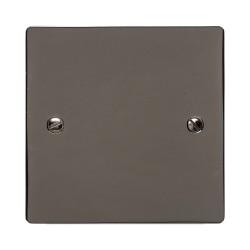 1 Gang Single Blank Plate in a Polished Black Nickel Flat Plate, Heritage Brass Elite