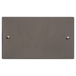 2 Gang Double Blank Plate in a Polished Black Nickel Flat Plate, Heritage Brass Elite