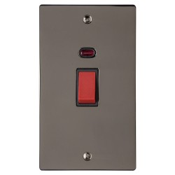 45A Red Rocker Cooker Switch with Neon (Twin Plate) Polished Black Nickel Elite Flat Plate with Black Trim