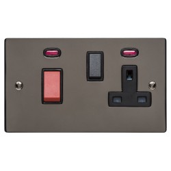 45A Cooker Unit with 13A Switched Socket and Neon Polished Black Nickel Elite Flat Plate and Rocker with Black Trim