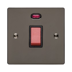 45A Red Rocker Cooker Switch (Single Plate) with Neon Polished Black Nickel Elite Flat Plate with Black Trim