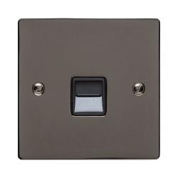 1 Gang Secondary Telephone Socket in Polished Black Nickel Elite Flat Plate with Black Trim, Elite Flat Plate