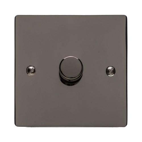 1 Gang 2 Way Trailing Edge LED Dimmer 10-120W Polished Polished Black Nickel Plate and Knob, Elite Flat Plate