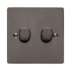 2 Gang 2 Way Trailing Edge LED Dimmer 10-120W Polished Polished Black Nickel Plate and Knob, Elite Flat Plate