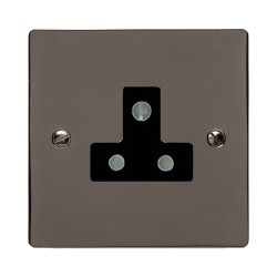 1 Gang 5A 3 Pin Unswitched Single Socket in Polished Black Nickel Elite Black Insert Elite Flat Plate