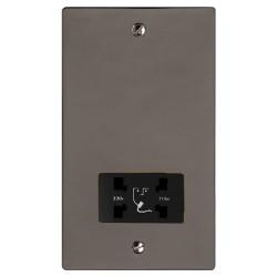 1 Gang Shaver Socket Dual Voltage Output 110/240V in a Polished Black Nickel Elite Flat Plate with Black Trim