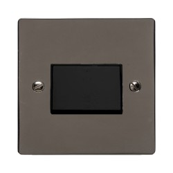 1 Gang 6A Triple Pole Fan Isolator Switch in a Polished Black Nickel Elite Flat Plate with Black Trim and Switch