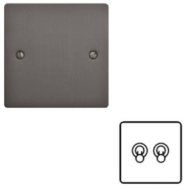 2 Gang 2 Way 20A Twin Dolly Switch in Matt Bronze Flat Plate and Toggle, Elite Flat Plate