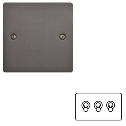 3 Gang 2 Way 20A Dolly Switch in Matt Bronze Flat Plate and Toggle, Elite Flat Plate